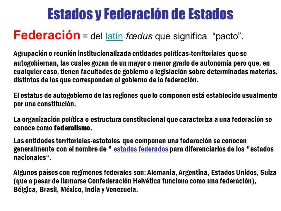 Estados y Federación de Estados Federación = del latín fœdus que significa pacto.latín Agrupación o reunión institucionalizada entidades políticas-ter