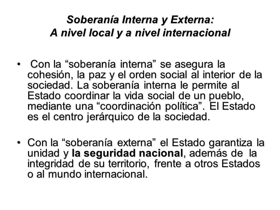 Soberanía Interna y Externa: A nivel local y a nivel internacional Con la soberanía interna se asegura la cohesión, la paz y el orden social al interi