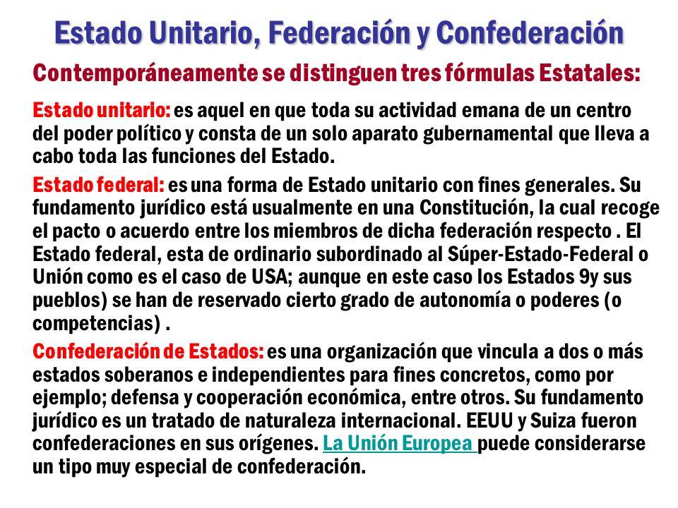 Estado Unitario, Federación y Confederación Contemporáneamente se distinguen tres fórmulas Estatales: Estado unitario: es aquel en que toda su activid