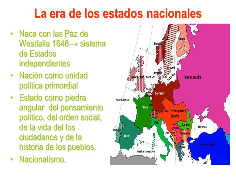 La era de los estados nacionales Nace con las Paz de Westfalia 1648 sistema de Estados independientesNace con las Paz de Westfalia 1648 sistema de Est