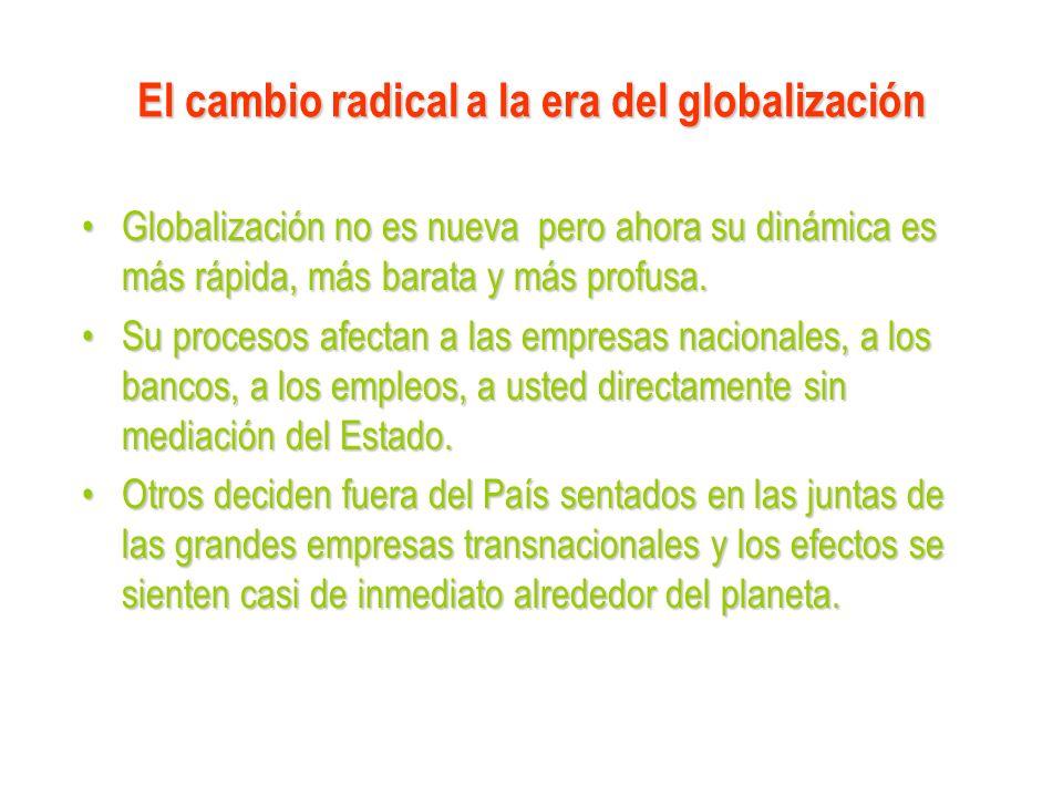 El cambio radical a la era del globalización Globalización no es nueva pero ahora su dinámica es más rápida, más barata y más profusa.Globalización no