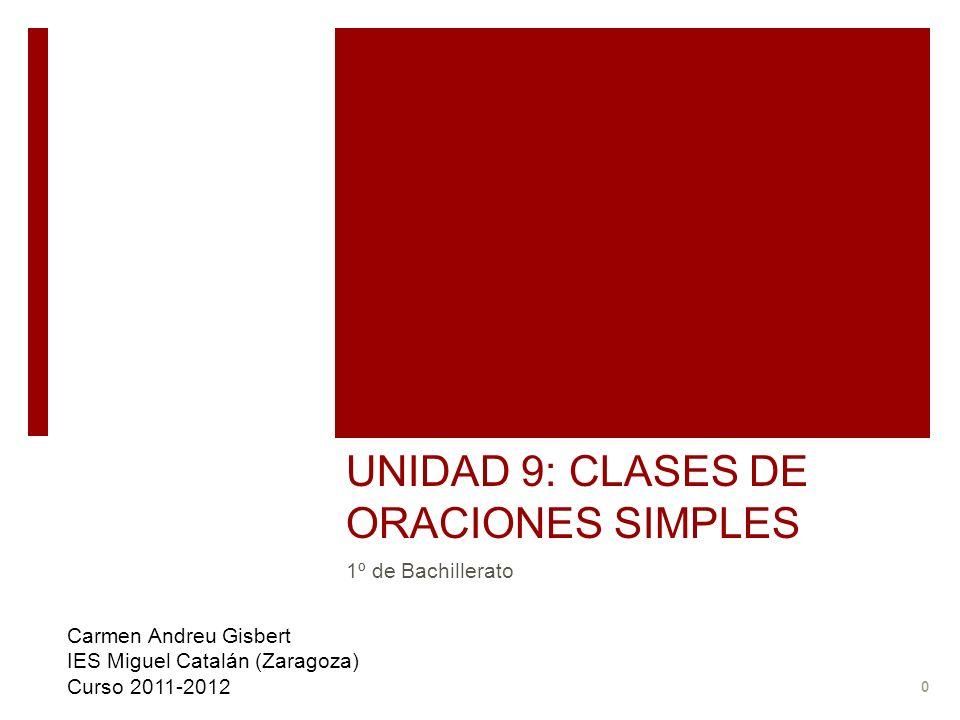 UNIDAD 9: CLASES DE ORACIONES SIMPLES 1º de Bachillerato Carmen Andreu Gisbert IES Miguel Catalán (Zaragoza) Curso 2011-2012 0