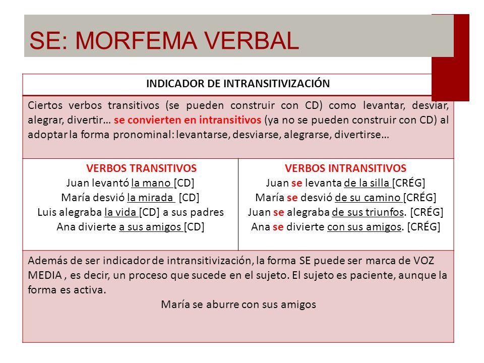 SE: MORFEMA VERBAL INDICADOR DE IMPERSONAL REFLEJA Las oraciones impersonales reflejas no tienen sujeto (ni sintáctico ni semántico), la estructura qu