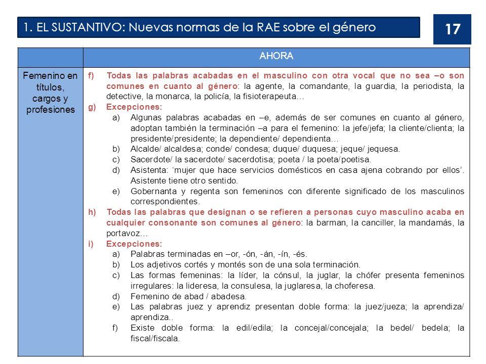 1. EL SUSTANTIVO: Nuevas normas de la RAE sobre el género 17 AHORA Femenino en títulos, cargos y profesiones f)Todas las palabras acabadas en el mascu