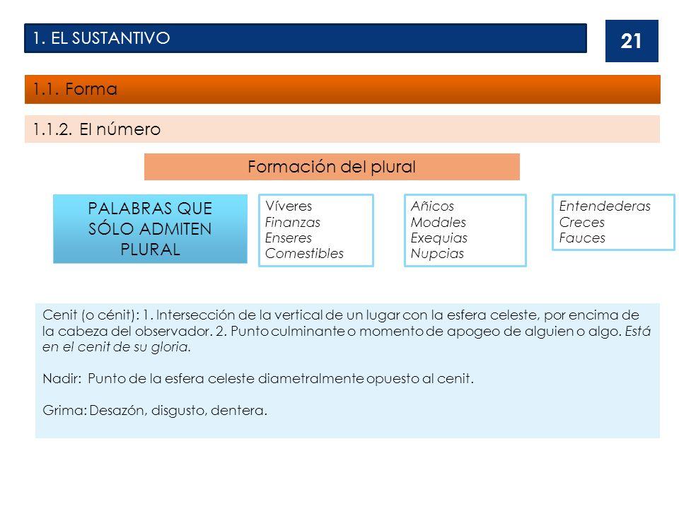 1.EL SUSTANTIVO 1.1. Forma 1.1.2.