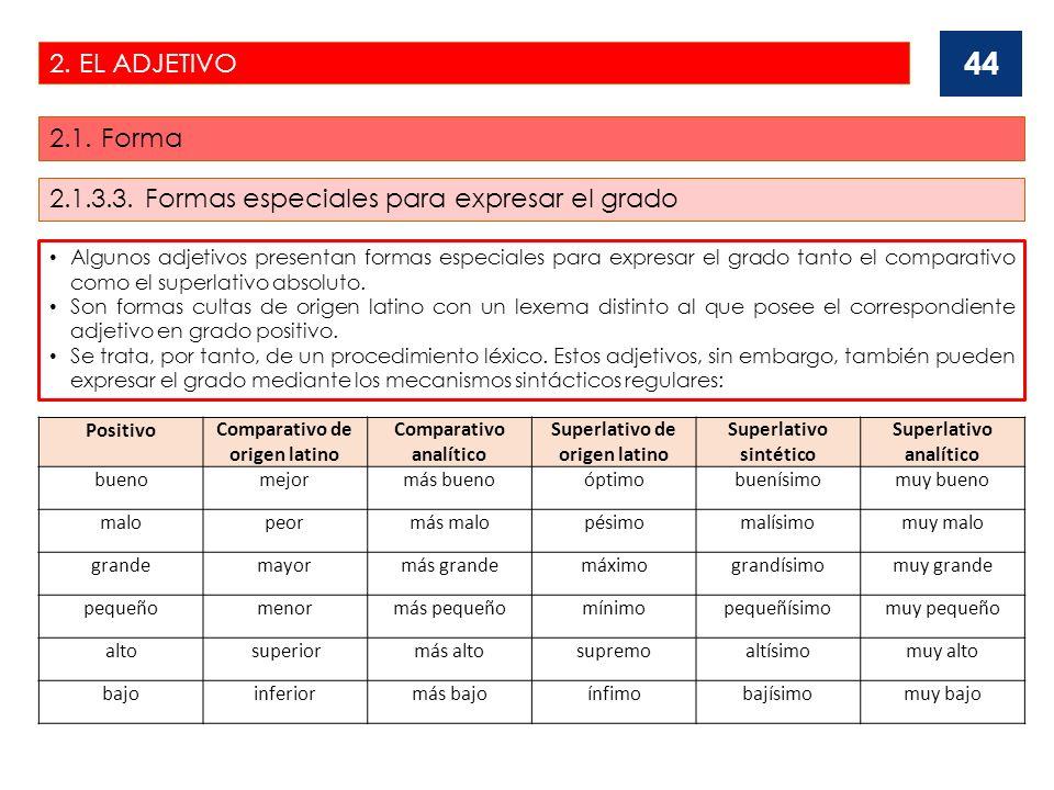 2. EL ADJETIVO 2.1. Forma 44 Algunos adjetivos presentan formas especiales para expresar el grado tanto el comparativo como el superlativo absoluto. S