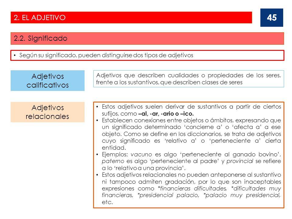 2.EL ADJETIVO 2.2. Significado 46 Adjetivos de doble significación: calificativo y relacional.