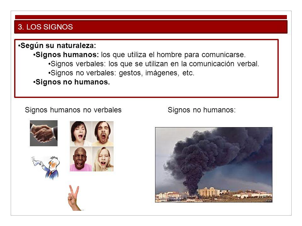 3. LOS SIGNOS Según su naturaleza: Signos humanos: los que utiliza el hombre para comunicarse. Signos verbales: los que se utilizan en la comunicación