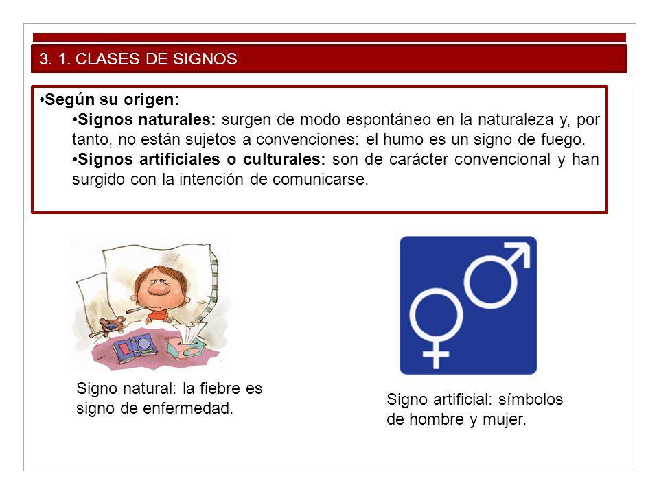 3. 1. CLASES DE SIGNOS Según su origen: Signos naturales: surgen de modo espontáneo en la naturaleza y, por tanto, no están sujetos a convenciones: el