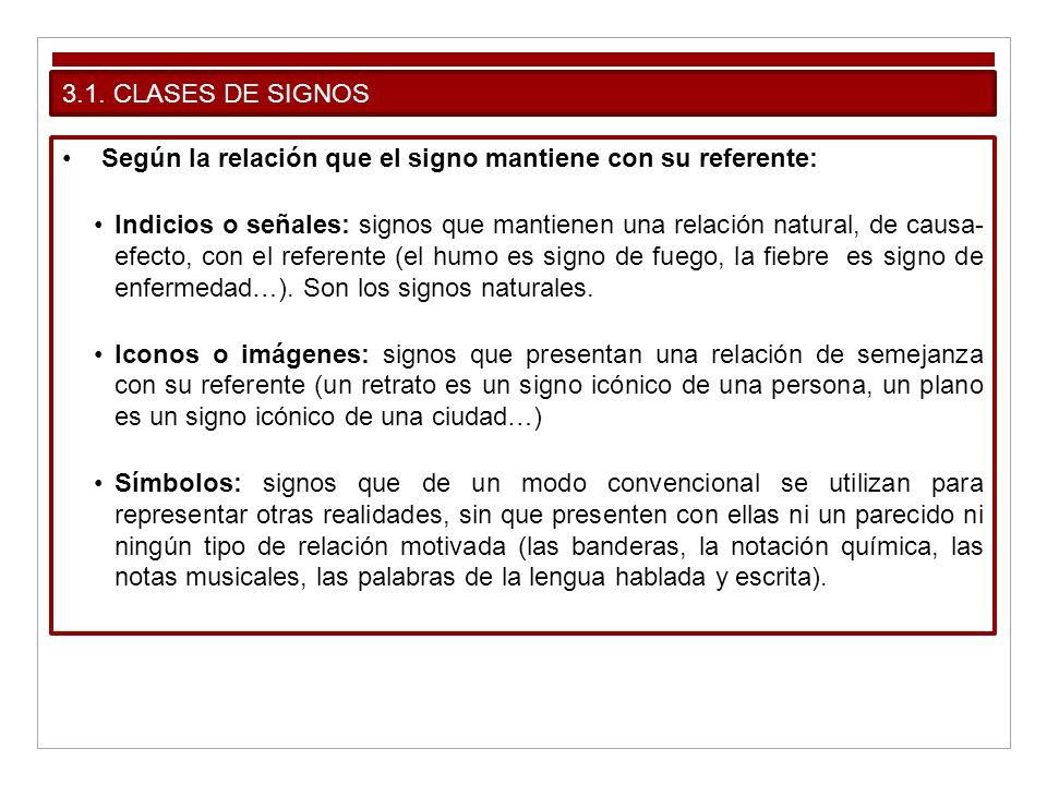 3.1. CLASES DE SIGNOS Según la relación que el signo mantiene con su referente: Indicios o señales: signos que mantienen una relación natural, de caus