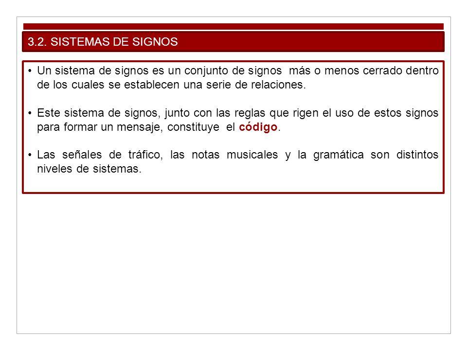 3.2. SISTEMAS DE SIGNOS Un sistema de signos es un conjunto de signos más o menos cerrado dentro de los cuales se establecen una serie de relaciones.