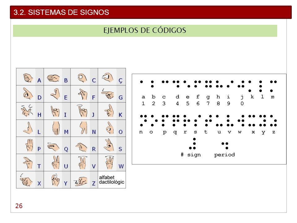 26 3.2. SISTEMAS DE SIGNOS EJEMPLOS DE CÓDIGOS