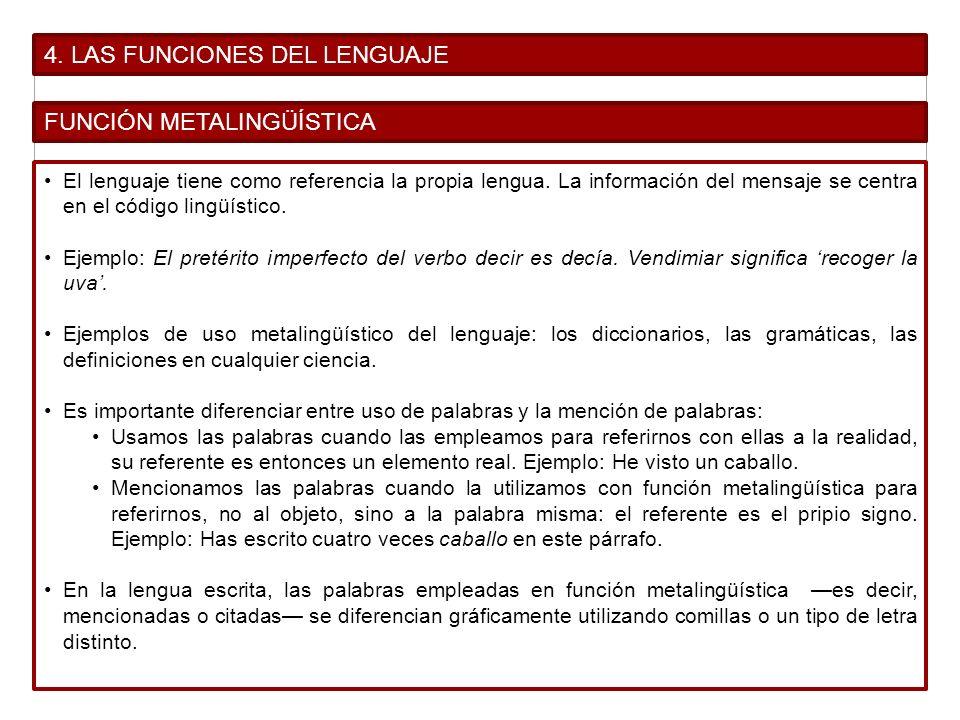 4. LAS FUNCIONES DEL LENGUAJE FUNCIÓN METALINGÜÍSTICA El lenguaje tiene como referencia la propia lengua. La información del mensaje se centra en el c