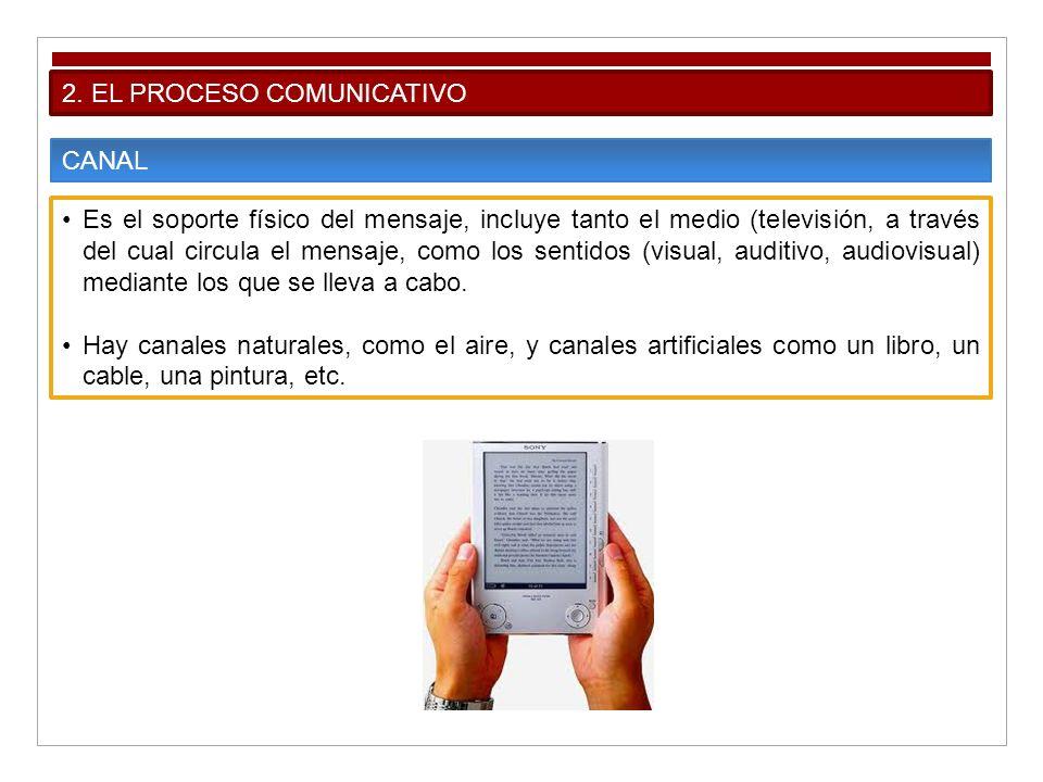 2. EL PROCESO COMUNICATIVO CANAL Es el soporte físico del mensaje, incluye tanto el medio (televisión, a través del cual circula el mensaje, como los