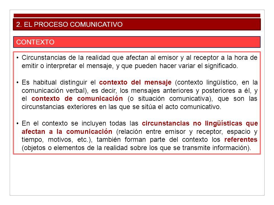 2. EL PROCESO COMUNICATIVO CONTEXTO Circunstancias de la realidad que afectan al emisor y al receptor a la hora de emitir o interpretar el mensaje, y