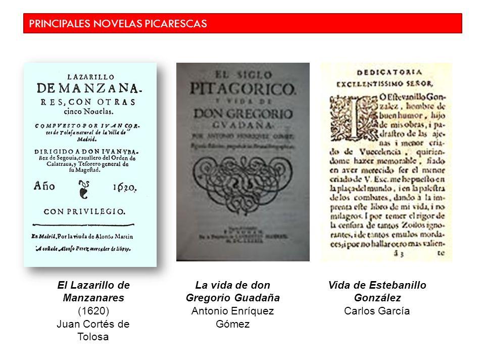 PRINCIPALES NOVELAS PICARESCAS El Lazarillo de Manzanares (1620) Juan Cortés de Tolosa La vida de don Gregorio Guadaña Antonio Enríquez Gómez Vida de