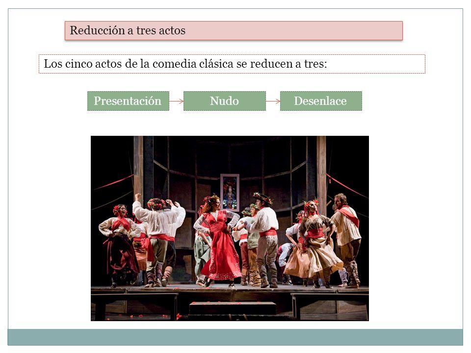 Reducción a tres actos Los cinco actos de la comedia clásica se reducen a tres: PresentaciónNudoDesenlace