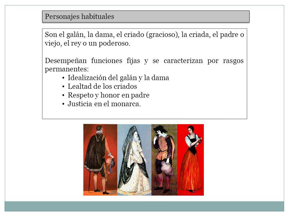 Personajes habituales Son el galán, la dama, el criado (gracioso), la criada, el padre o viejo, el rey o un poderoso. Desempeñan funciones fijas y se