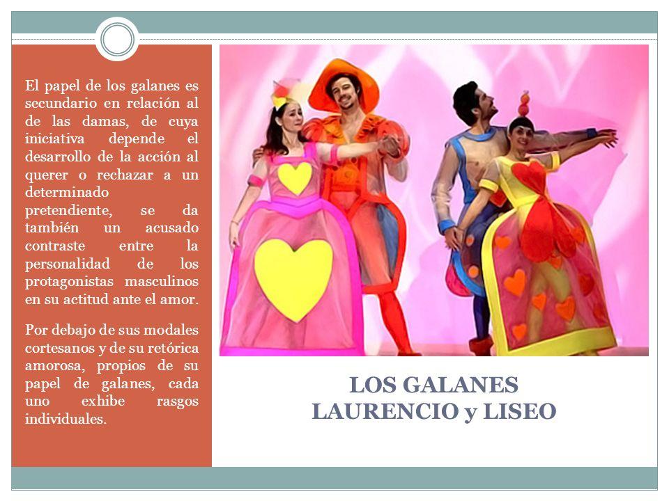 LOS GALANES LAURENCIO y LISEO El papel de los galanes es secundario en relación al de las damas, de cuya iniciativa depende el desarrollo de la acción