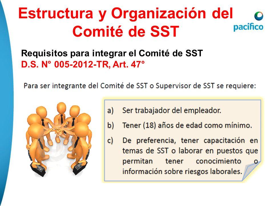 Estructura y Organización del Comité de SST Requisitos para integrar el Comité de SST D.S. N° 005-2012-TR, Art. 47°