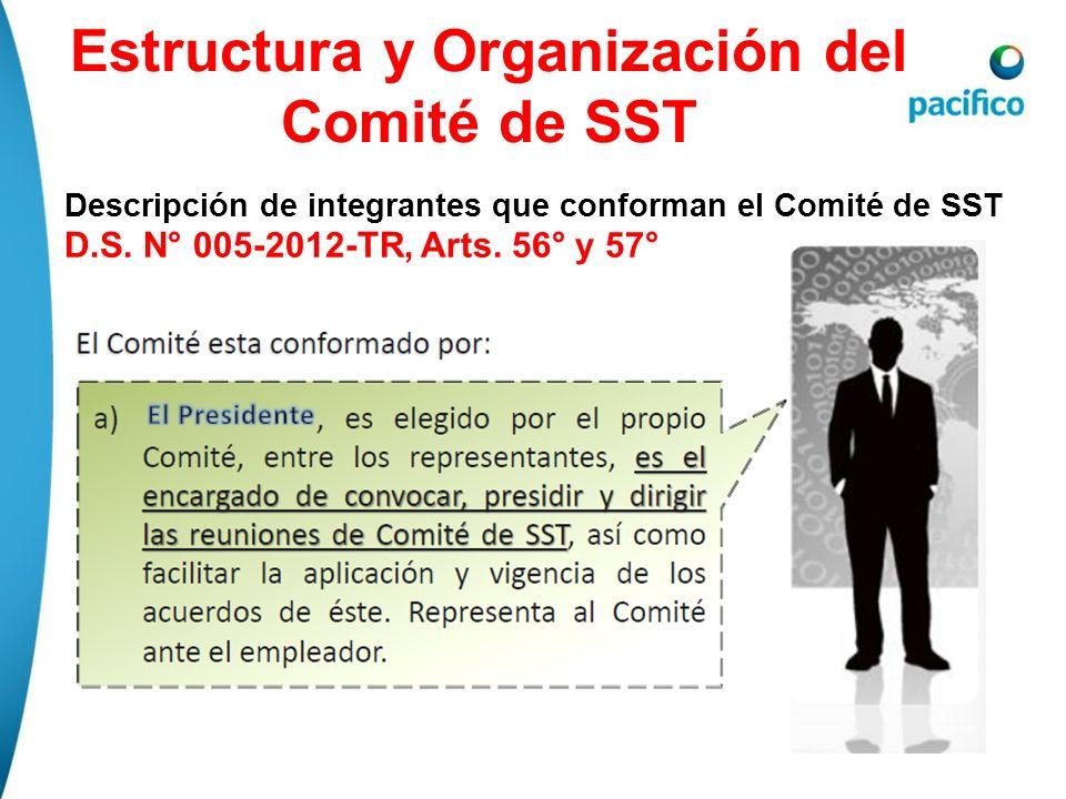 Estructura y Organización del Comité de SST Descripción de integrantes que conforman el Comité de SST D.S. N° 005-2012-TR, Arts. 56° y 57°