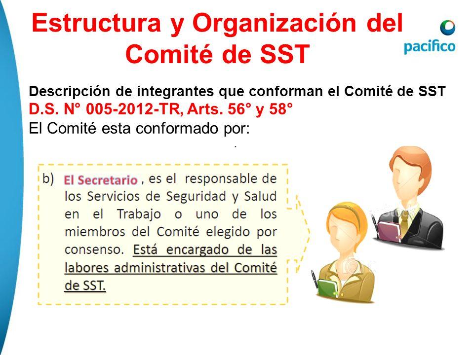 Estructura y Organización del Comité de SST Descripción de integrantes que conforman el Comité de SST D.S. N° 005-2012-TR, Arts. 56° y 58° El Comité e