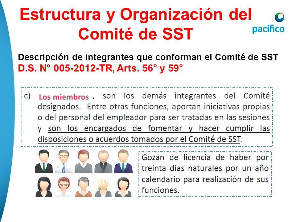 Estructura y Organización del Comité de SST Descripción de integrantes que conforman el Comité de SST D.S. N° 005-2012-TR, Arts. 56° y 59°