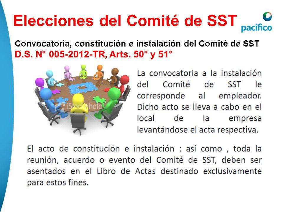 Elecciones del Comité de SST Convocatoria, constitución e instalación del Comité de SST D.S. N° 005-2012-TR, Arts. 50° y 51°