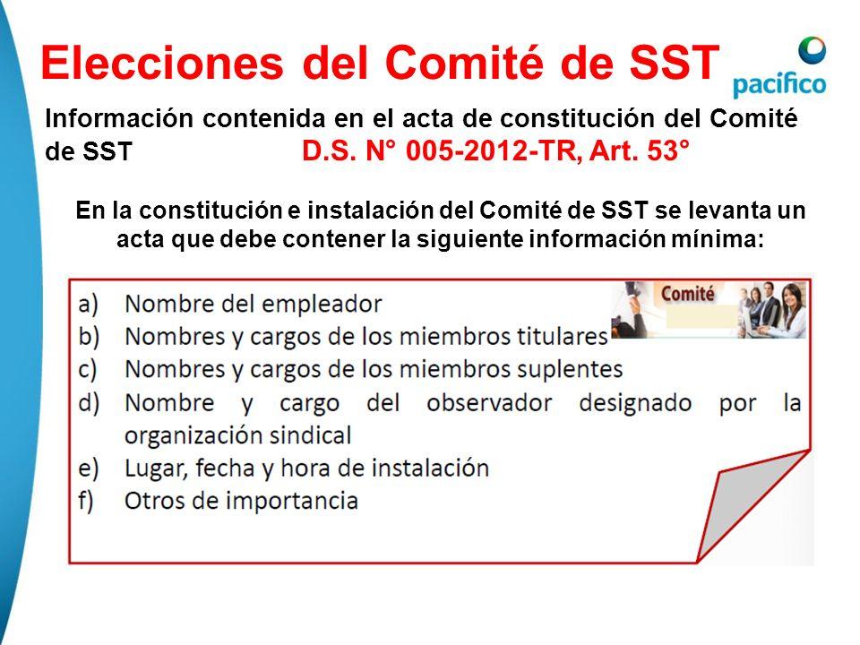 Elecciones del Comité de SST Información contenida en el acta de constitución del Comité de SST D.S. N° 005-2012-TR, Art. 53° En la constitución e ins