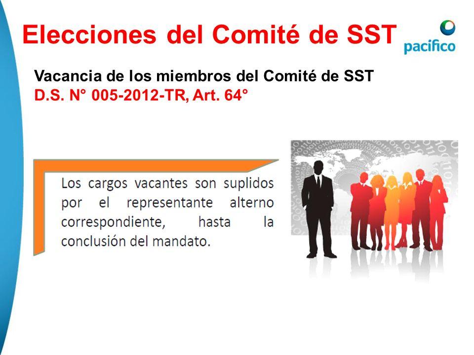 Elecciones del Comité de SST Vacancia de los miembros del Comité de SST D.S. N° 005-2012-TR, Art. 64°