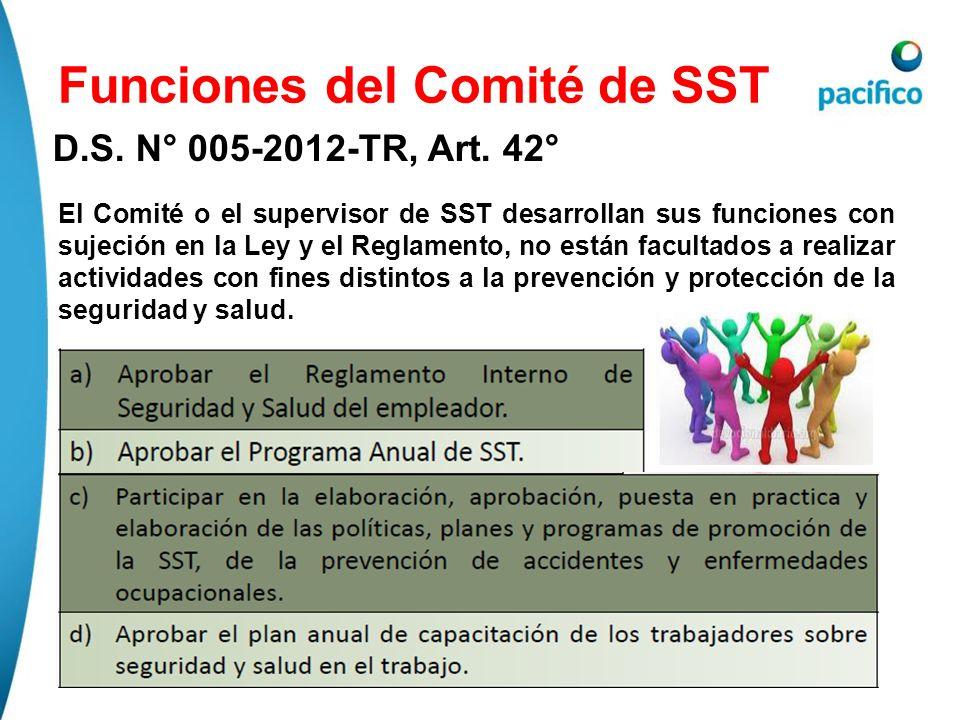 Funciones del Comité de SST D.S. N° 005-2012-TR, Art. 42° El Comité o el supervisor de SST desarrollan sus funciones con sujeción en la Ley y el Regla