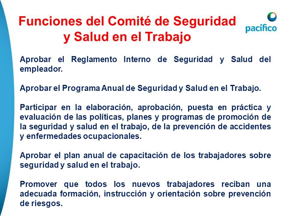 Funciones del Comité de Seguridad y Salud en el Trabajo Aprobar el Reglamento Interno de Seguridad y Salud del empleador. Aprobar el Programa Anual de