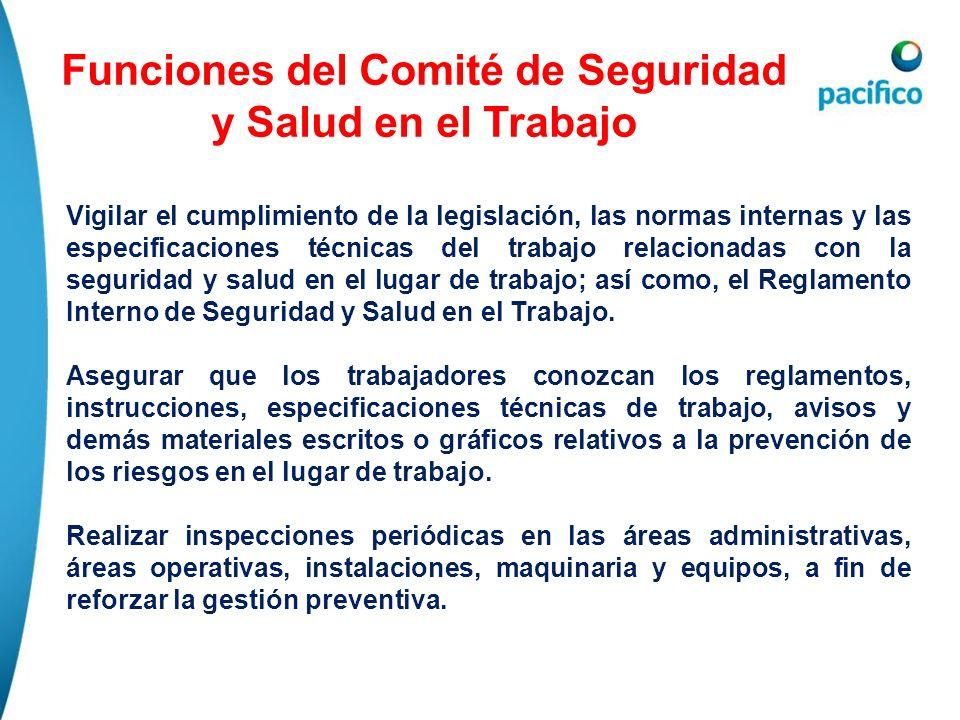 Funciones del Comité de Seguridad y Salud en el Trabajo Vigilar el cumplimiento de la legislación, las normas internas y las especificaciones técnicas