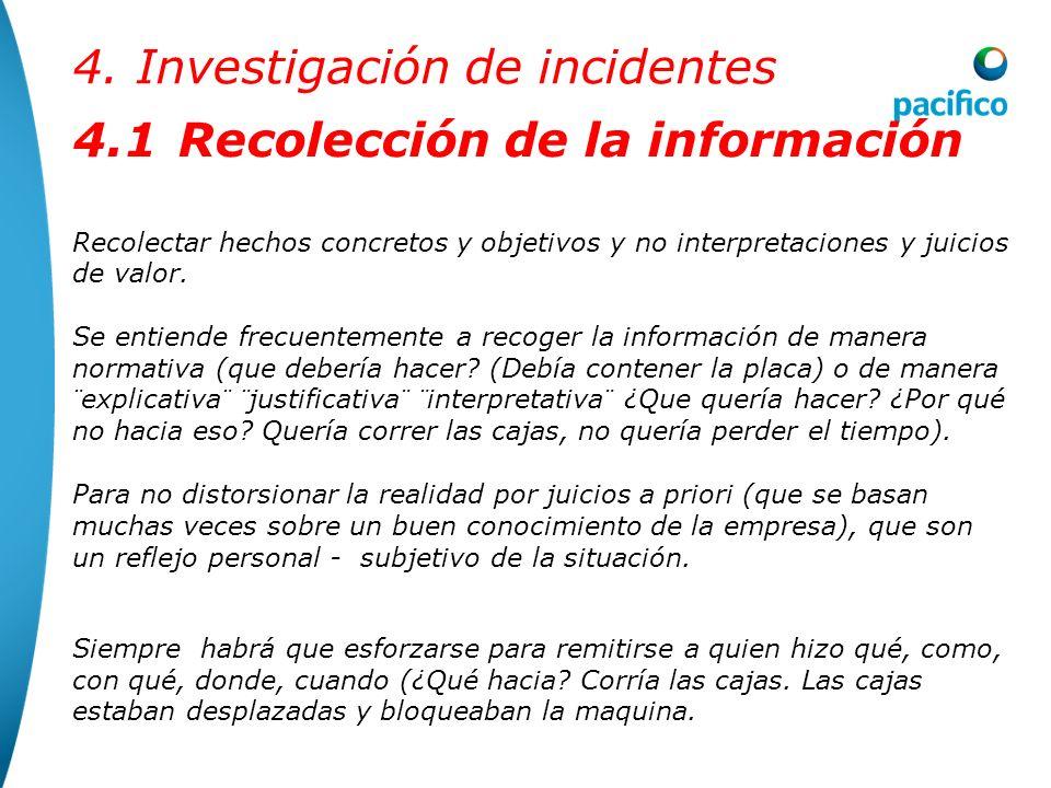4. Investigación de incidentes METODOLOGIA DE CONDUCCIÓN DE UNA INVESTIGACIÓN El proceso de conducción de una investigación debe seguir los siguientes