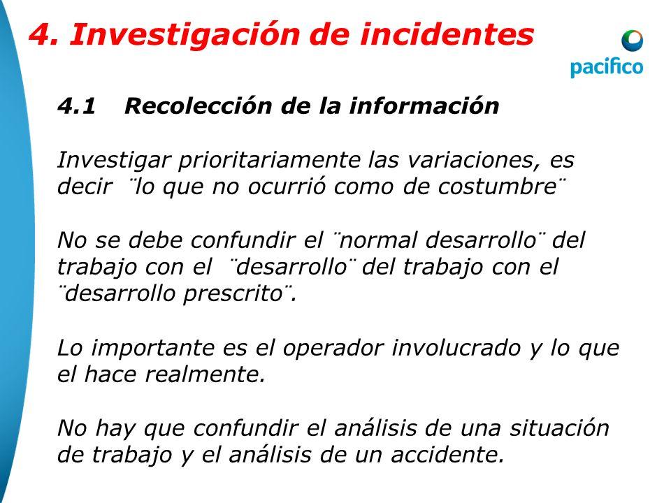 4.1Recolección de la información Recolectar hechos concretos y objetivos y no interpretaciones y juicios de valor. Se entiende frecuentemente a recoge