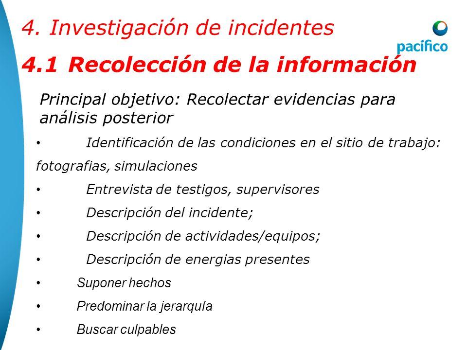 4.1Recolección de la información Investigar prioritariamente las variaciones, es decir ¨lo que no ocurrió como de costumbre¨ No se debe confundir el ¨
