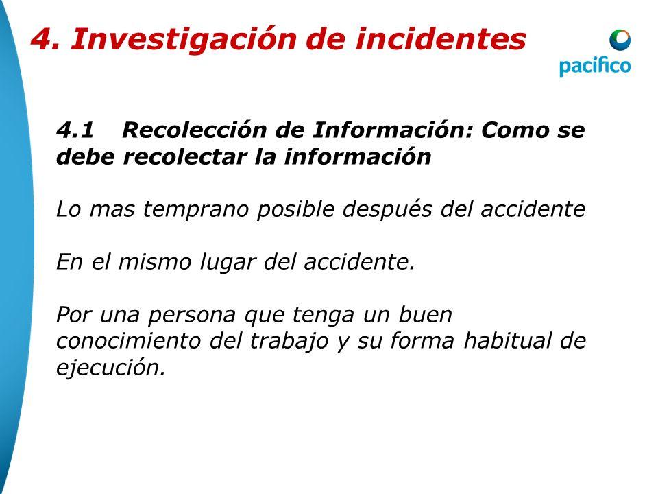 4.3Elaboración del Plan de Acción 4. Investigación de incidentes Siempre al final de la investigación de un accidente se DEBEN generar Planes que acci