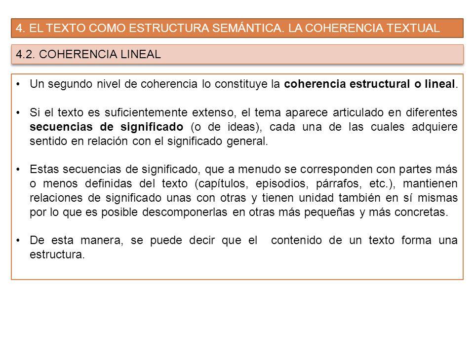 4. EL TEXTO COMO ESTRUCTURA SEMÁNTICA. LA COHERENCIA TEXTUAL 4.2. COHERENCIA LINEAL Un segundo nivel de coherencia lo constituye la coherencia estruct
