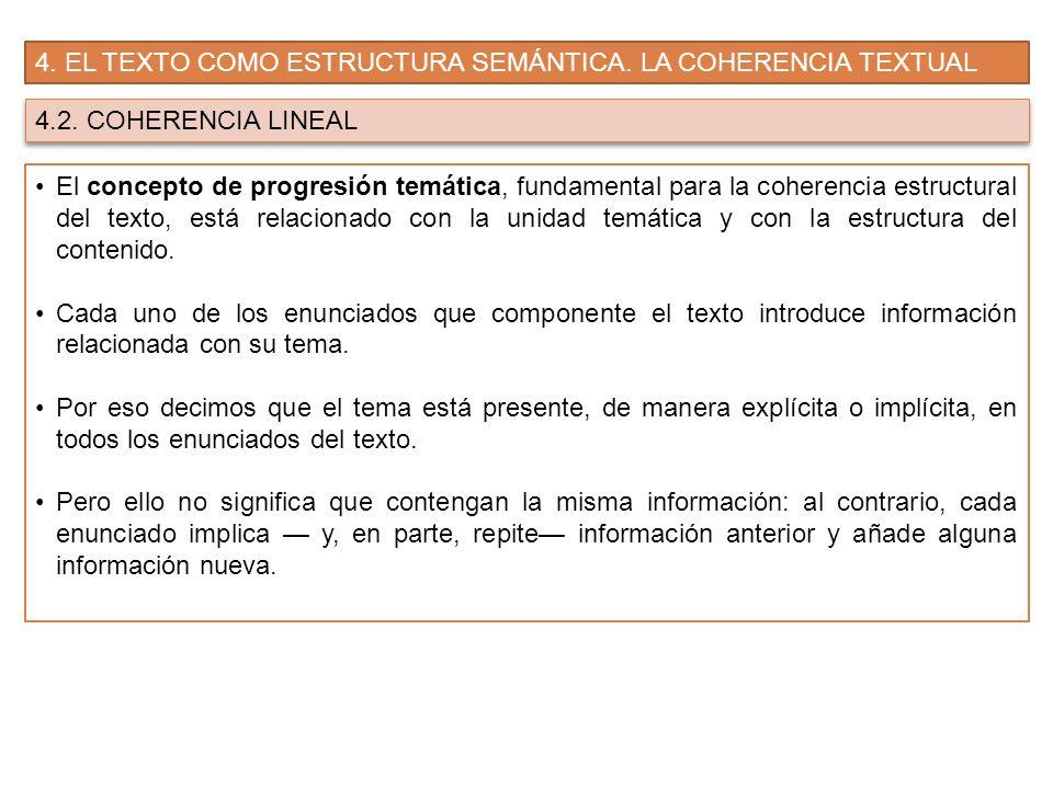 4. EL TEXTO COMO ESTRUCTURA SEMÁNTICA. LA COHERENCIA TEXTUAL 4.2. COHERENCIA LINEAL El concepto de progresión temática, fundamental para la coherencia