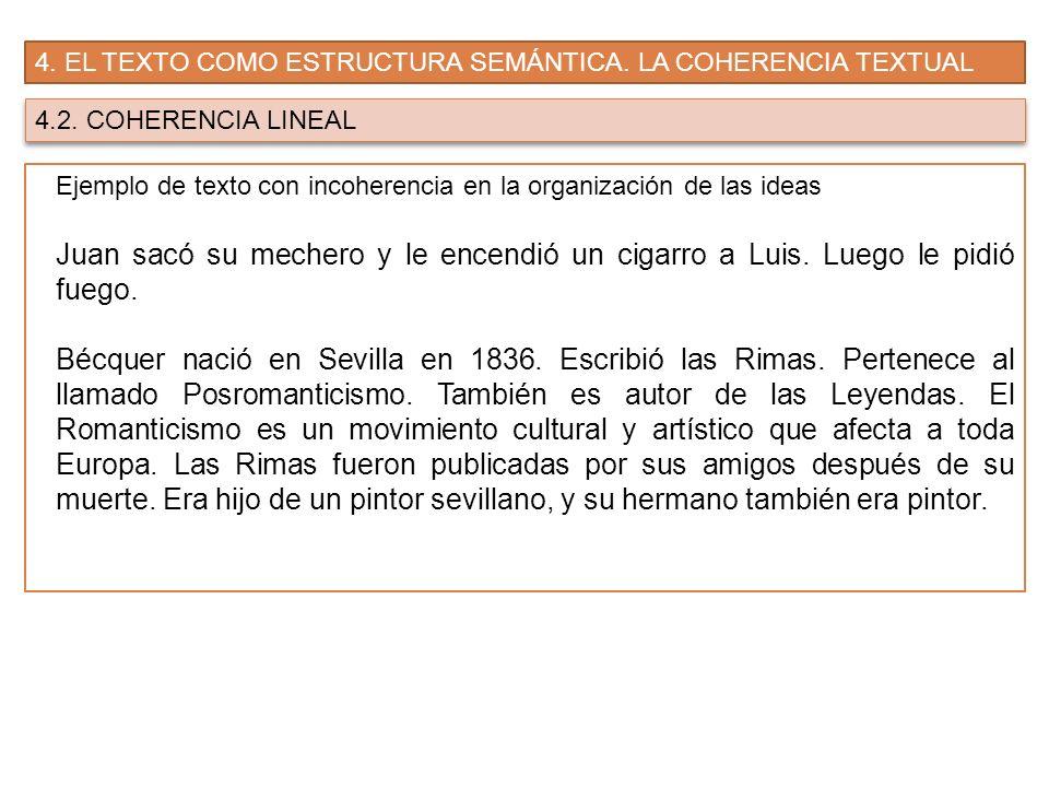 4. EL TEXTO COMO ESTRUCTURA SEMÁNTICA. LA COHERENCIA TEXTUAL 4.2. COHERENCIA LINEAL Ejemplo de texto con incoherencia en la organización de las ideas