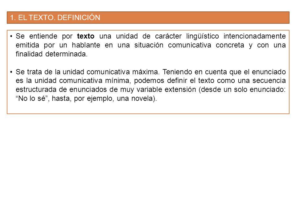 1. EL TEXTO. DEFINICIÓN Se entiende por texto una unidad de carácter lingüístico intencionadamente emitida por un hablante en una situación comunicati