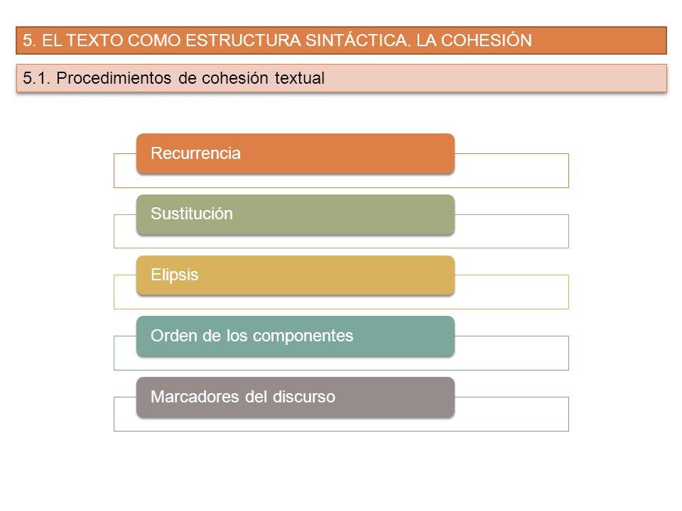 5. EL TEXTO COMO ESTRUCTURA SINTÁCTICA. LA COHESIÓN 5.1. Procedimientos de cohesión textual RecurrenciaSustituciónElipsisOrden de los componentesMarca