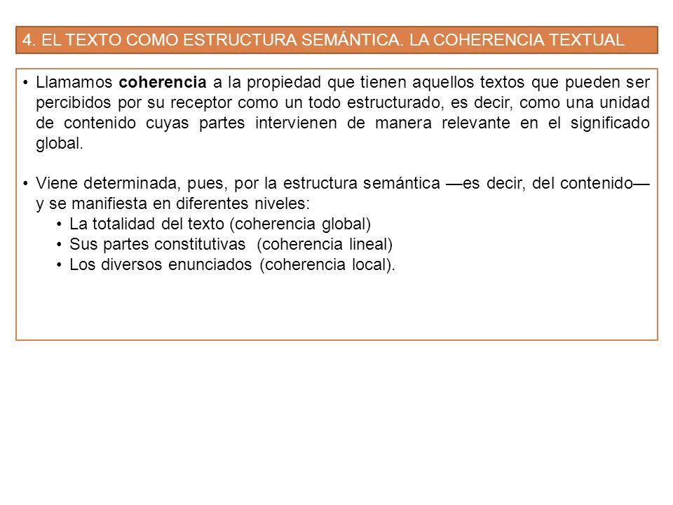 4.EL TEXTO COMO ESTRUCTURA SEMÁNTICA. LA COHERENCIA TEXTUAL 4.1.