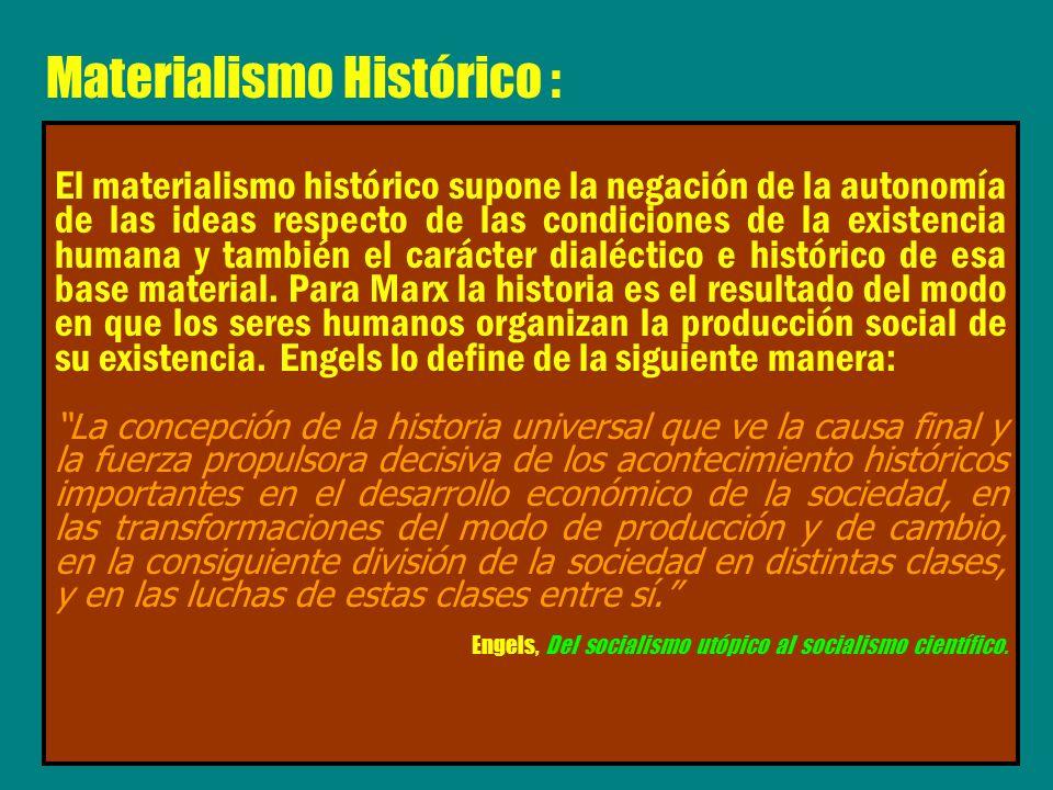 El materialismo histórico supone la negación de la autonomía de las ideas respecto de las condiciones de la existencia humana y también el carácter di
