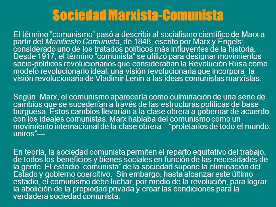 Sociedad Marxista-Comunista El término comunismo pasó a describir al socialismo científico de Marx a partir del Manifiesto Comunista, de 1848, escrito