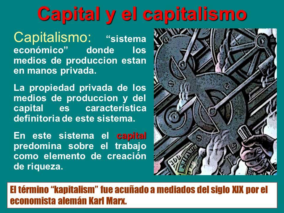 Capital y el capitalismo Capitalismo: sistema económico donde los medios de produccion estan en manos privada. La propiedad privada de los medios de p