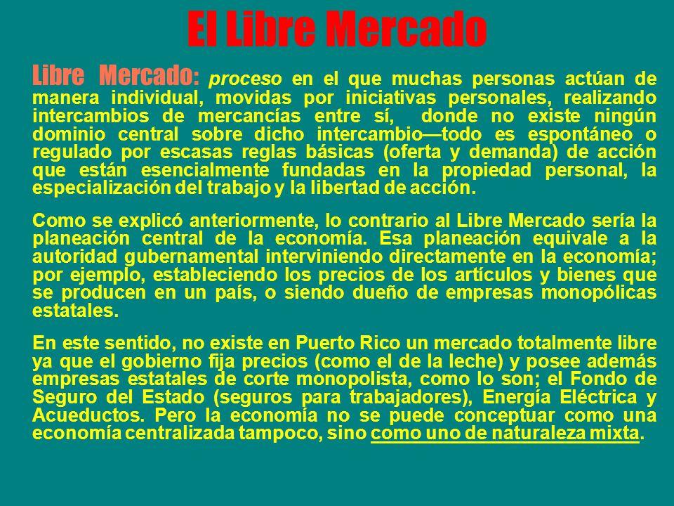 El Libre Mercado Libre Mercado: proceso en el que muchas personas actúan de manera individual, movidas por iniciativas personales, realizando intercam