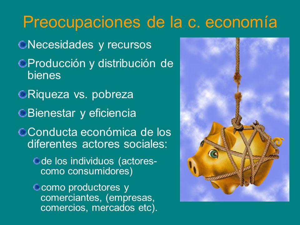 Preocupaciones de la c. economía Necesidades y recursos Producción y distribución de bienes Riqueza vs. pobreza Bienestar y eficiencia Conducta económ