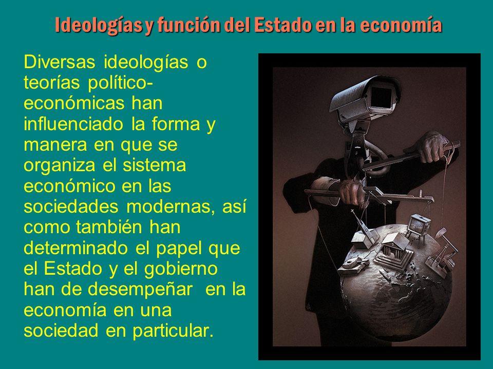 Diversas ideologías o teorías político- económicas han influenciado la forma y manera en que se organiza el sistema económico en las sociedades modern