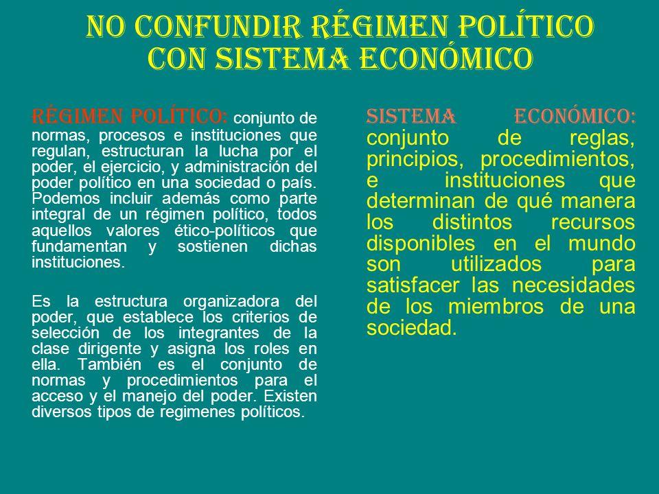 No confundir régimen político con sistema económico RÉGIMEN POLÍTICO: conjunto de normas, procesos e instituciones que regulan, estructuran la lucha p